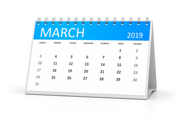 table calendar 2019 march