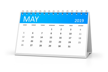 table calendar 2019 may