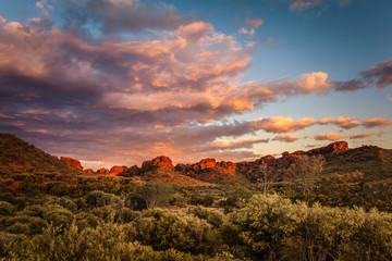 Rock formations surrounding the Kings Canyon car park at dawn,  Central Australia, Northern Territory, Australia