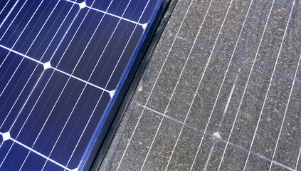 Photovoltaic cleaning, before and after