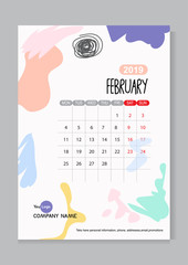 Arctistic monthly calendar template design for new years 2019. Cute pop art Background with colorful, hand drawn, simple style. Week starts.