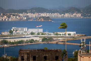 Aerial view of plane taking off at Santos Dumont Airport - Rio de Janeiro, Brazil