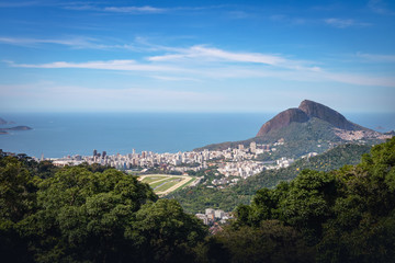 Aerial view of Rio de Janeiro and Two Brothers Hill (Morro Dois Irmaos) - Rio de Janeiro, Brazil