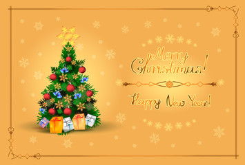 Postcard with a Christmas tree, gift boxes and balls surrounded by snowflakes with an inscription in a frame on a golden background.Horizontal.