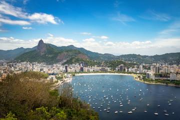Aerial view of Rio de Janeiro and Guanabara Bay with Corcovado Mountain - Rio de Janeiro, Brazil