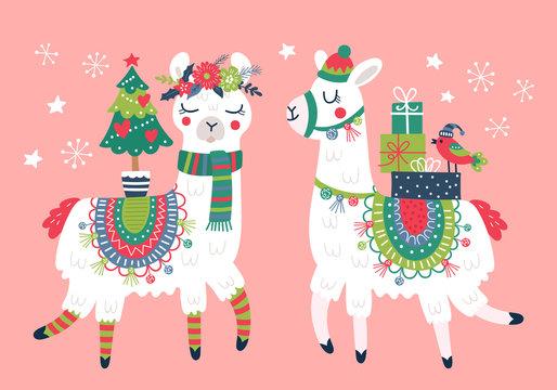 Cute llama character Christmas card