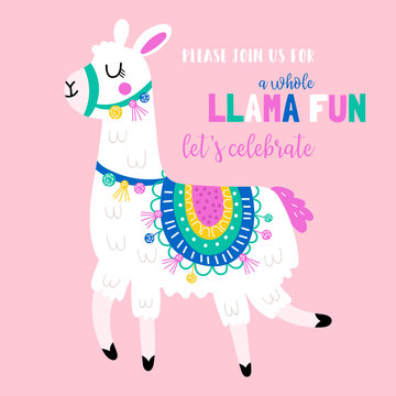 Cute llama birthday party invitation.