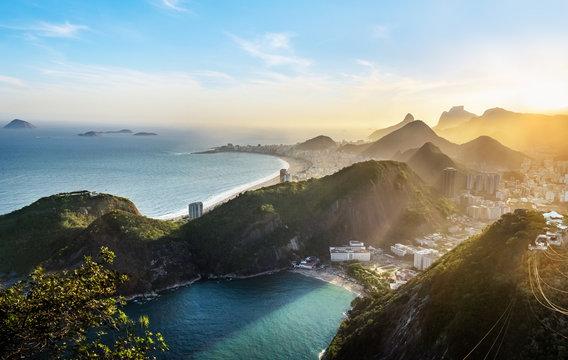 Aerial view of Rio de Janeiro Coast with Copacabana and Praia Vermelha beach at sunset - Rio de Janeiro, Brazil