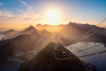 Aerial view of Rio de Janeiro at sunset with Urca and Corcovado mountain and Guanabara Bay - Rio de Janeiro, Brazil