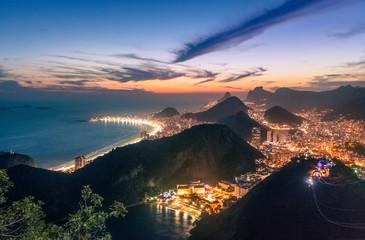 Aerial view of Rio de Janeiro Coast with Copacabana and Praia Vermelha beach at night - Rio de Janeiro, Brazil
