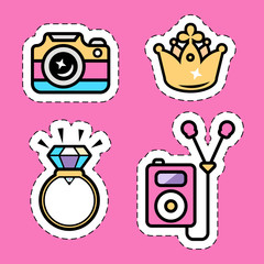 pink music ipod, golden crown, diamond ring,i social network camera flat sticker set with dashed cutting edge, isolated flat vector illustration eps10