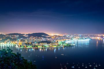 Aerial view of Guanabara Bay and Flamengo at night - Rio de Janeiro, Brazil