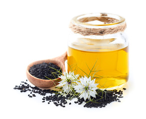 Stores photo Graine, aromate Black cumin oil with flowers