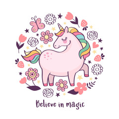 """Vector motivation card with cute unicorn, flowers and text """"Believe in magic"""" isolated on white background. Magical cartoon unicorn poster"""