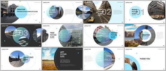 Minimal presentations design, portfolio vector templates with circle elements on white background. Multipurpose template for presentation slide, flyer leaflet, brochure cover, report, marketing. Fototapete