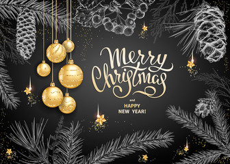 Merry Christmas and Happy New Year card with realistic golden balls, stars, sequins. Sketch of different branches of fir tree, cedar, pine, hawthorn and cones on black background. Elegant lettering