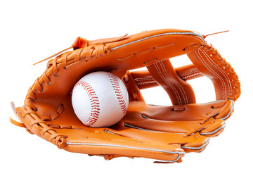 America s pastime, sporting equipment and american sports concept with a new generic baseball glove and holding a ball isolated on white background with a clip path cutout
