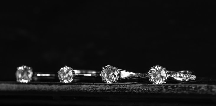 Diamond Rings on Black Background
