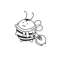 Cute little Bumblebee ink hand drawn sketch vector illustration. Happy fat bumblebee traveler. Bee icon. Print art sketch bees. Bee sign isolated on white backgro