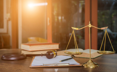 Scales of justice, gavel and book