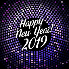 Bright purple Happy New Year 2019 festive poster.
