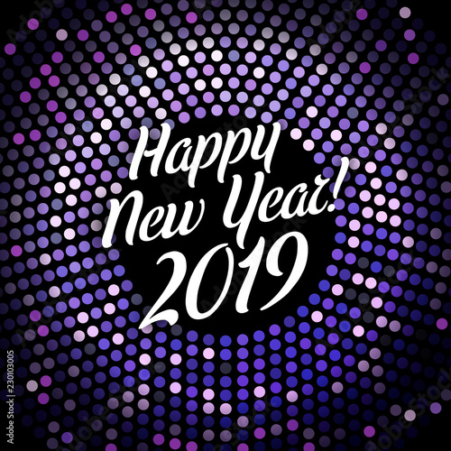 bright purple happy new year 2019 festive poster