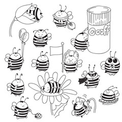 Set of cute little Bumblebee ink hand drawn sketch vector illustration. Bee icon. Print art sketch bees. Bee sign isolated on white background illustration