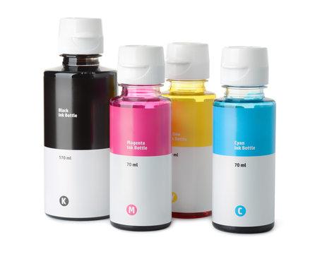 Set of printer ink bottles
