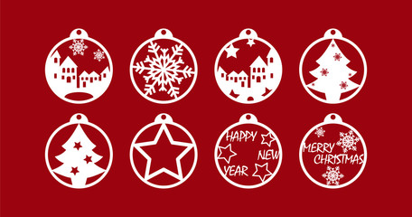 Set of stencil Christmas decorations for paper cutting