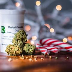 Medical marijuana prescription with peppermint and bokeh lights