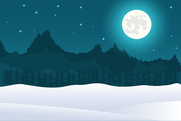 Christmas landscape background of full moon and mountains