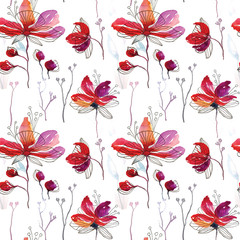 Seamless watercolor pattern drawing flowers red