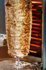 Shawarma meat frying