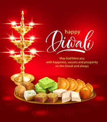 Happy Diwali background with gilt diya and traditional sweets – laddu, gulab jamun, gujiya, halwa, barfi. Vector illustration.