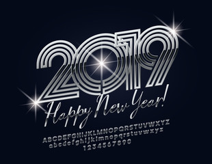 Vector glossy Happy New Year 2019 Greeting Card with rotated Alphabet Letters and Numbers. Bright Silver Font.