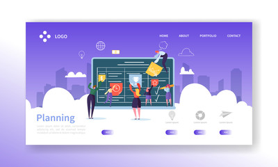 Workflow Management Concept Landing Page. Business People Characters Planning Work Process Together Website Template. Easy Edit and Customize. Vector illustration