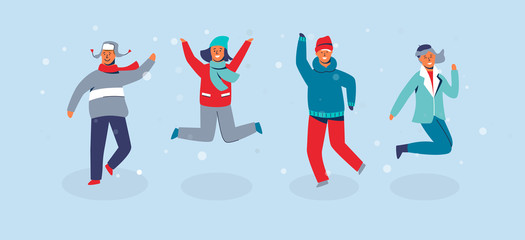 Joyful Characters Friends Jumping. People in Warm Clothes on Happy Winter Vacation. Man and Woman Having Fun Outdoors. Vector illustration