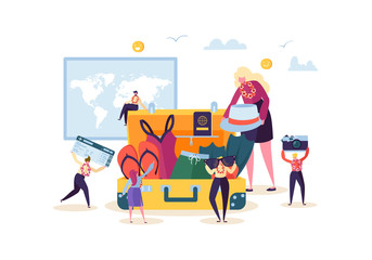 Characters Packing Luggage for Travel. Man and Woman Preparing for Tropical Trip. Happy People Traveling to Beach Vacation. Vector illustration