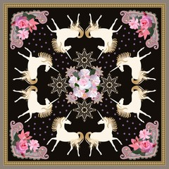 Beautiful silk scarf with magical unicorns, golden mandala flower and gentle floral ornament on black background in vector. Print for fabric.