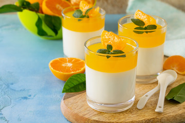 Panna cotta with tangerines jelly and mint, Italian dessert, homemade cuisine. Copy space.