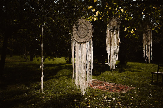 dream catchers hanging outside