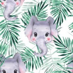Modèle sans couture avec des éléphants. Fond de dessin animé mignon
