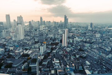 Thailand, Bangkok, Saigon Wide angle view from rooftop in city center skyscrapers, buildings. Sunset in the city