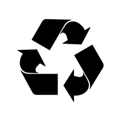 black  recycle sign vector illustration flat