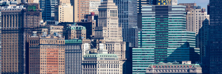 Fotobehang Amerikaanse Plekken Wall Street Windows New York City Panoramic as seen from Liberty State Park in New Jersey