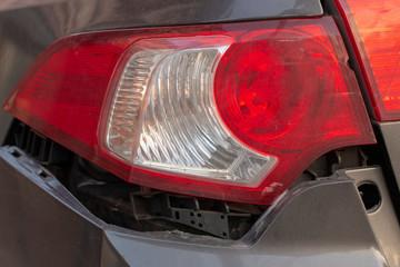 Papiers peints Rouge, noir, blanc car has dented rear bumper damaged after accident