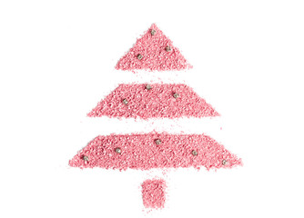 Christmas tree from scattered dry pink blush for the face. New Year's celebratory cosmetic concept.