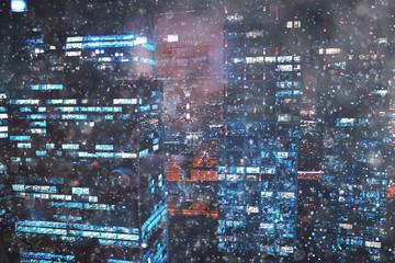 city lights snow glow background blurred / cityscape blurred bokeh, snowy weather seasonal background winter December