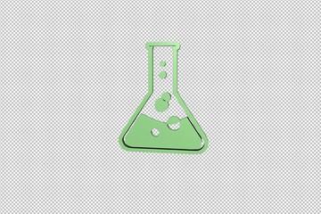 green Chemistry 3D illustration on transparent background