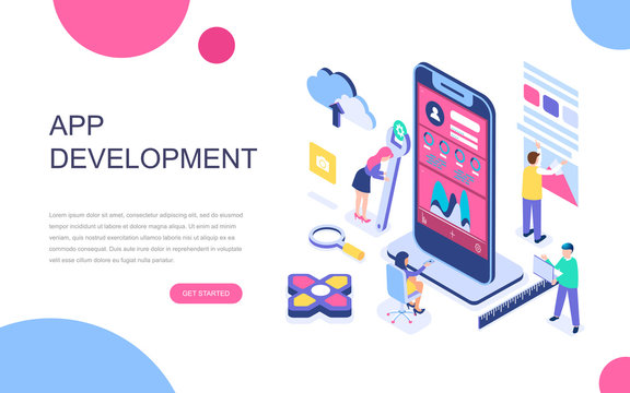 Modern flat design isometric concept of App Development for banner and website. Isometric landing page template. Developing programming a new project using mobile application. Vector illustration.